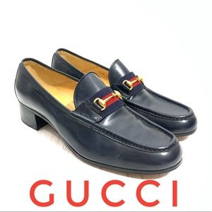Gucci Vintage Blue Leather Gold Buckle Loafers